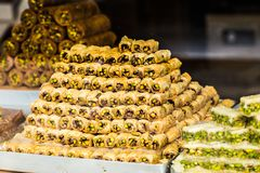 Baklava on a market in Istanbul Royalty Free Stock Photo