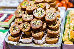 Baklava on a market in Istanbul Royalty Free Stock Photos