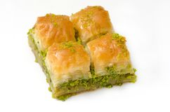 Baklava met pistache op een witte achtergrond Royalty-vrije Stock Fotografie
