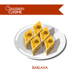 Baklava pastry dessert Caucasian cuisine vector flat icon Royalty Free Stock Photography