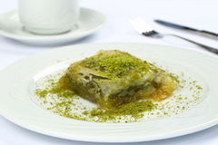Baklava with Pistachio and coffee Royalty Free Stock Photo
