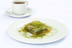 Baklava with Pistachio and coffee Royalty Free Stock Photos