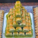 Baklava. With pistachio middle east turkish cuisine Stock Images