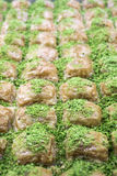 Baklava with pistachio from Turkish cuisine.  Stock Photos