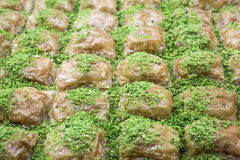 Baklava with pistachio from Turkish cuisine.  Royalty Free Stock Photography