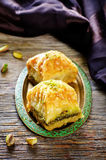 Baklava with pistachio. turkish traditional delight Royalty Free Stock Photos