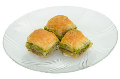 Baklava with pistachio on a white background Royalty Free Stock Images