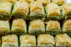 Baklava. Rows of Turkish baklava, close up Stock Images