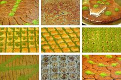 Baklava and shredded wheat. Varieties images Stock Image