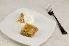 Baklava on square plate Royalty Free Stock Images