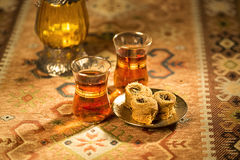 Baklava and tea Royalty Free Stock Images