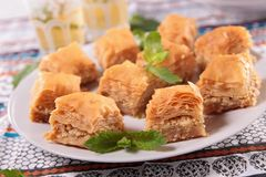 Baklava and tea Royalty Free Stock Photography