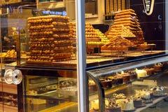Baklava Tower Cakes Istiklal Beyoglu Istanbul. Baklava Tower Cakes in Store Istiklal Beyoglu Istanbul, Turkey Royalty Free Stock Photos
