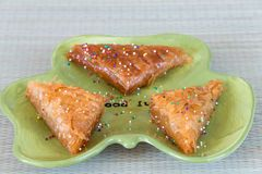 Baklava a traditional layered pastry Stock Photos