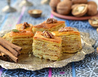 Baklava, traditional oriental sweets Royalty Free Stock Photos
