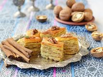 Baklava, traditional oriental sweets Stock Photos