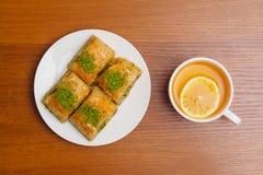 Baklava, traditioneel Turks dessert Royalty-vrije Stock Foto's