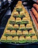 Baklava - traditionell turkisk sötsak Arkivfoton