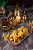 Baklava turca reale fresca e saporita Fotografia Stock Libera da Diritti