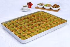 Baklava. Turkish baklava in the circle metal tray Royalty Free Stock Photography