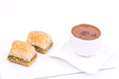 Baklava and turkish coffee Stock Photography