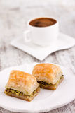 Baklava and turkish coffee Stock Photo