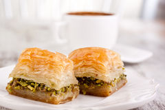Baklava and turkish coffee Royalty Free Stock Photography