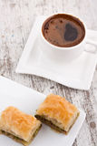 Baklava and turkish coffee Stock Photos