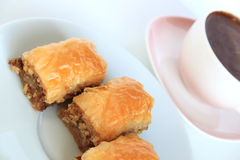 Baklava, Turkish Traditional Dessert and Turkish Coffee Stock Photography