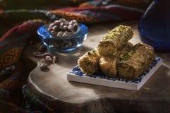 Baklava - turkisk efterrätt med pistaschen Royaltyfria Foton