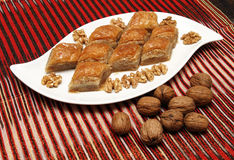 Baklava with walnuts Royalty Free Stock Photography
