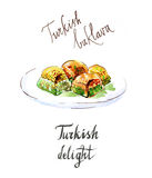 Baklava Watercolor ελεύθερη απεικόνιση δικαιώματος