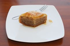 Baklava on White Plate Stock Photography
