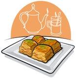 Baklava wschodni jedzenie ilustracji