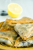 Baklavas, lemon and water Royalty Free Stock Photography