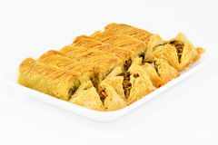 Baklawa. The traditional Middle Eastern dessert. Baklawa with nuts Stock Photos