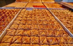 Baklawa. Sweet baklawa in the market, Israel Stock Photography