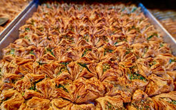 Baklawa. Sweet baklawa in the market, Israel Stock Image