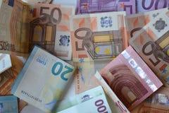 Baknotes денег евро 20 50 100 евроец евро 500 валют 5000 рублевок картины дег счетов предпосылки Стоковая Фотография