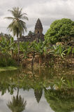 Bakong Temple moat, Angkor, Cambodia Royalty Free Stock Images