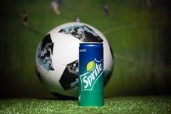 BAKOU, AZERBAÏDJAN - 1ER JUILLET 2018 : Concept créatif Boule 2018 du football de coupe du monde de la Russie de fonctionnaire Ad Image libre de droits