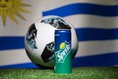 BAKOU, AZERBAÏDJAN - 1ER JUILLET 2018 : Concept créatif Boule 2018 du football de coupe du monde de la Russie de fonctionnaire Ad Photographie stock libre de droits