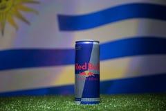 BAKOU, AZERBAÏDJAN - 1ER JUILLET 2018 : Concept créatif Le classique de Red Bull 250 ml peut sur l'herbe Soutenez votre pays dans Images stock