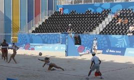 BAKOU, AZERBAIJAN-THE PREMIER GAMES-JUNE EUROPÉEN 20,2015-BEACH VOLL Images libres de droits