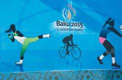 Bakou - 21 mars 2015 : 2015 affiches européennes de jeux Photographie stock libre de droits