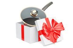 Bakpan binnen giftdoos, giftconcept het 3d teruggeven Stock Afbeelding