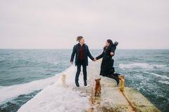 Bakre romantisk sikt av ett ungt par som går samman med liten hund och har gyckel på den asfulla pir under regnig höst arkivbilder