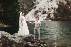 Bakre sikt av bruden och brudgummen som står på sjökusten med scenisk bergsikt i Polen Morskie Oko arkivbild