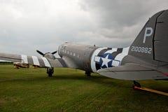 Bakre sikt av den Dakota C47bombplanen, på den Lincolnshire flygshowen Arkivfoton
