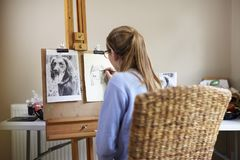 Bakre sikt av den kvinnliga tonårs- bilden för konstnärSitting At Easel teckning av hunden från fotografiet i kol royaltyfri bild